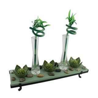 3 Lotus Flower Tealight Holder 2 Lucky Bamboo Candle Garden Set - Green