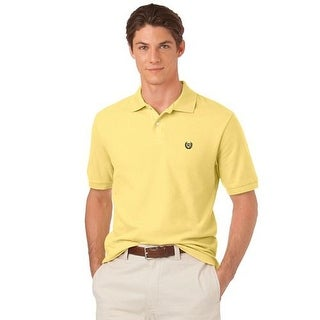 Chaps Men Short Sleeves Relaxed Fit Cotton Polo Shirt Wicket Yellow L - wicket yellow - Large