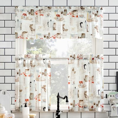 No. 918 Brew Coffee Shop Semi-Sheer Rod Pocket Kitchen Curtain Valance and Tiers Set