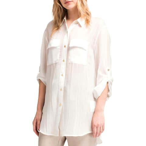 DKNY Womens Button-Down Top Sheer Textured