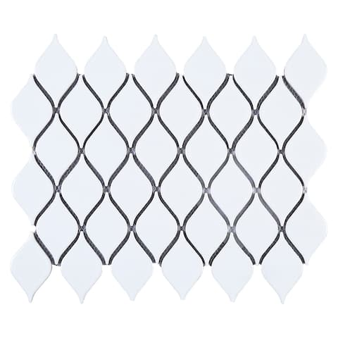 "TileGen. Water Drop 2.3"" x 3.6"" Porcelain Mosaic Tile in White Floor and Wall Tile (10 sheets/10sqft.)"