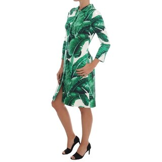 Dolce & Gabbana Banana Leaf Cotton Silk Trench Coat