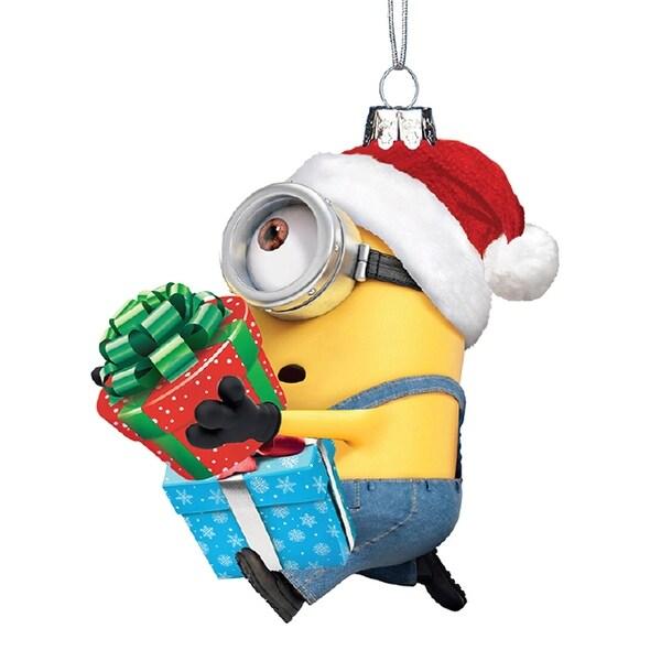kurt adler despicable me minion karl with presents holiday ornament glass - Minion Christmas Ornament