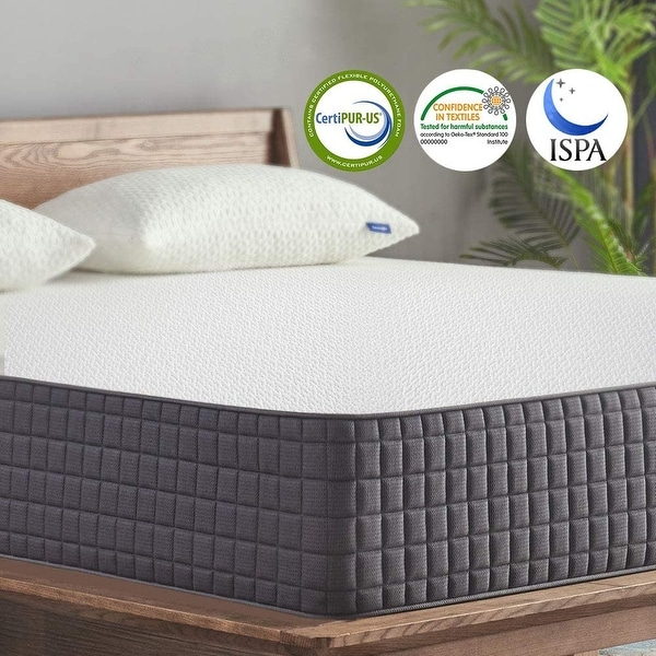 "10""Medium Gel Memory Foam Mattress for Back Pain Relief/Motion Isolation. Opens flyout."