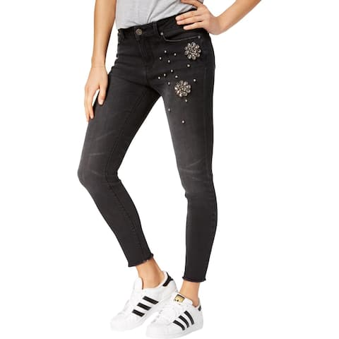 Indigo Rein Womens Juniors More Is More Ankle Jeans Embellished Skinny