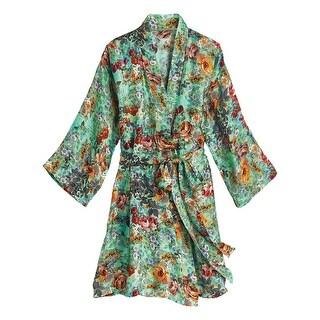 APNY Apparel Women s Rose Garden Silk Robe - Short Style Kimono with 3 4  Sleeves 7baabee5e