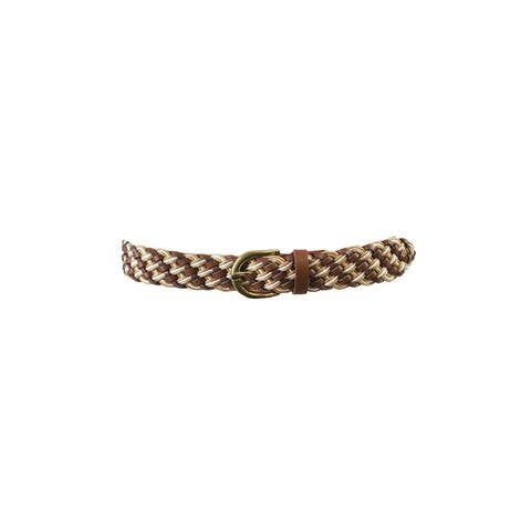 Style & Co. Cognac Multi Textured Woven Belt M