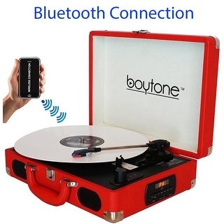 Boytone BT-101RD Bluetooth Turntable Briefcase Record player AC-DC, Built in Rechargeable Battery, 2 Stereo Speakers 3-speed