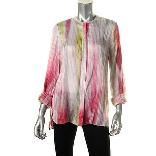Elie Tahari Womens Carly Linen Silk Blend Button-Down Top
