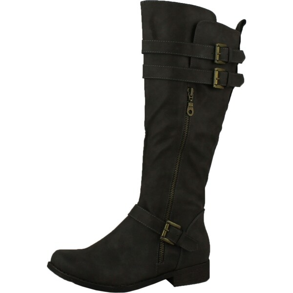 Fashion Focus Bella-2 Womens Faux Leather Knee High Riding Boots