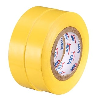 "PVC Electrical Insulating Tape Single Sided 21/32"" Width 49ft 6mil Yellow 2pcs - 6 mil Thick, Yellow"