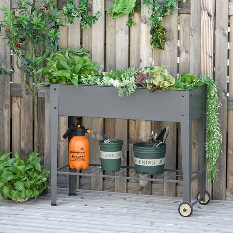 """Outsunny 41"""" x 15"""" x 32"""" Raised Garden Bed with 2 Wheels, Bottom Shelf for Storing Tools, & Water Drainage Hole, Grey"""