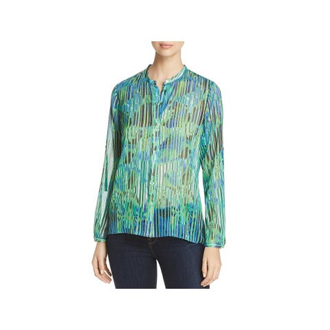 T Tahari Womens Blouse Metallic Button-Down