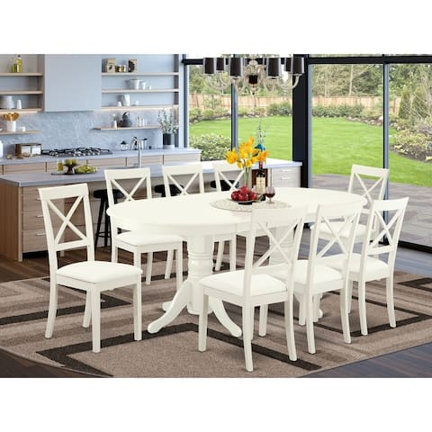 Dining Table Set Includes Oval 59/76.4 Inch Table and Faux Leather Seat Chairs in Linen White Finish (Pieces Option)