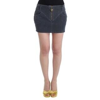Cavalli Cavalli Blue corduroy mini skirt - it48-xxl