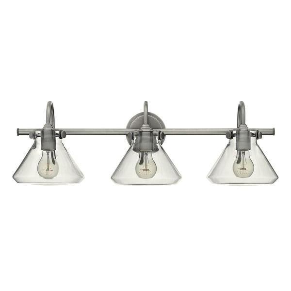 """Hinkley Lighting 50036 3-Light 29.5"""" Width Bathroom Vanity Light with Clear Cone Shade from the Congress Collection - n/a"""