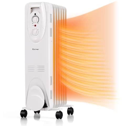 Costway 1500W Oil Filled Heater Portable Radiator Space Heater w/