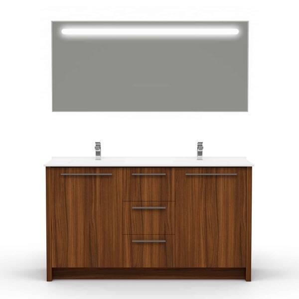 Benna 63 Inch Glossy Grey Double Sink Freestanding Bathroom Vanity Set Overstock 28944715