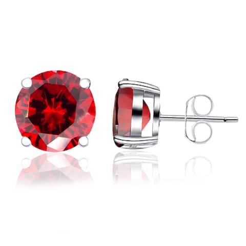 Garnet, Cubic Zirconia, Iolite Gemsotne Sterling Silver Round Stud Earrings By Orchid Jewelry