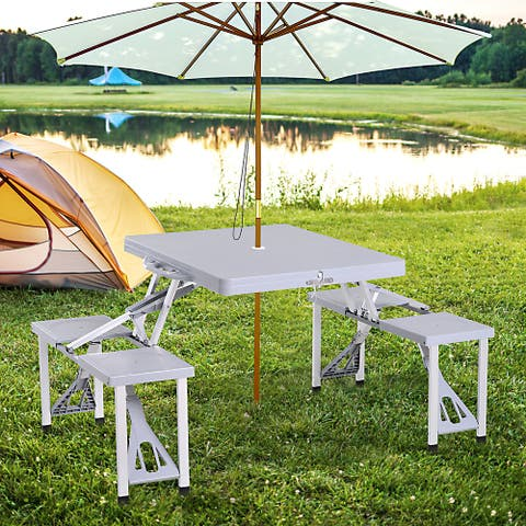 Outsunny Portable Foldable Camping Picnic Table with Seats Chairs and Umbrella Hole, 4-Person Fold Up Travel Picnic Table, Grey