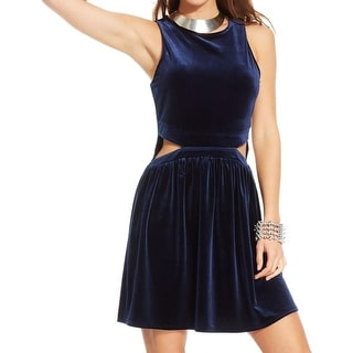 One Clothing Womens Juniors Casual Dress Velvet Cut-Out