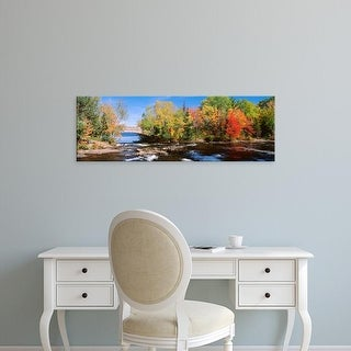 Easy Art Prints Panoramic Images's 'Trees Near A River, Bog River, New York State, USA' Premium Canvas Art