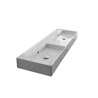 "Nameeks Scarabeo 5116  Scarabeo Teorema 2.0 56"" Rectangular Ceramic Vessel or Wall Mounted Bathroom Sink with Overflow"