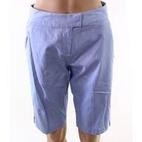IMNYC Blue Light Womens Size 2 Bermuda Tab-Front Twill Shorts