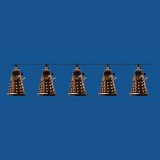 Set of 10 Doctor Who Bronze Dalek Novelty Christmas Lights- Green Wire