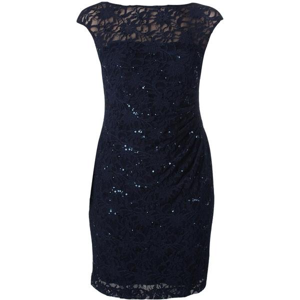 Lauren Ralph Lauren Womens Cocktail Dress Lace Overlay Sequined