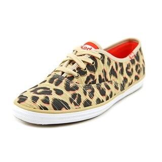 Keds Champion Leopard Women Round Toe Canvas Tan Sneakers