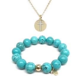Turquoise Magnesite Bracelet & CZ Cross Disc Gold Charm Necklace Set|https://ak1.ostkcdn.com/images/products/is/images/direct/5c283c7624c8881b19b2d2a9fcaba677d5003a40/Julieta-Jewelry-Set-12mm-Turquoise-Magnesite-Lauren-7%22-Stretch-Bracelet-%26-16mm-Cross-Disc-CZ-Charm-16%22-14k-Over-.925-SS-Necklace.jpg?impolicy=medium