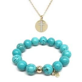 Turquoise Magnesite Bracelet & CZ Cross Disc Gold Charm Necklace Set