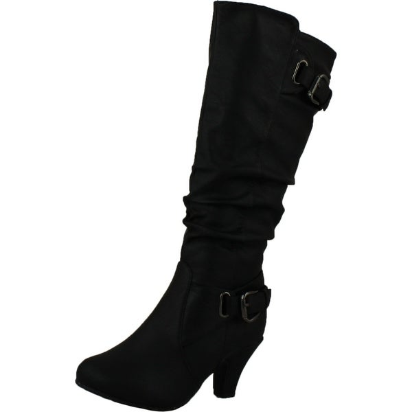Top Moda Womens Bag-55 Knee High Buckle Slouched Kitten Heel Boots