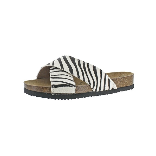 Naughty Monkey Womens Magdalena Slide Sandals Pony Hair Animal Print