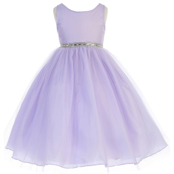 cd0806c692440 Shop Flower Girl Dress Rhinestone Waist Band Tulle Bottom Lilac CA 754 - Free  Shipping Today - Overstock - 17752188