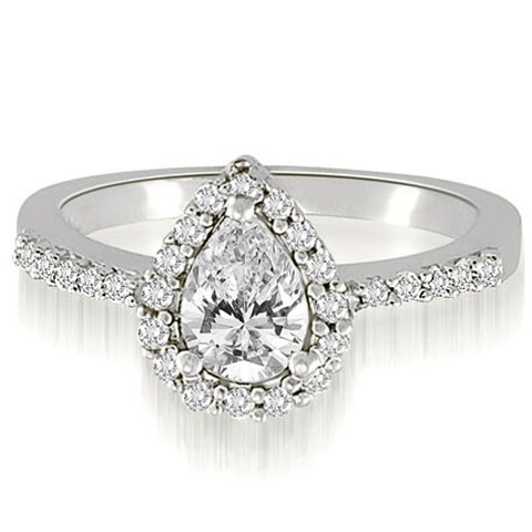1.25 cttw. 14K White Gold Pear And Round Shape Halo Diamond Engagement Ring HI, SI1-2