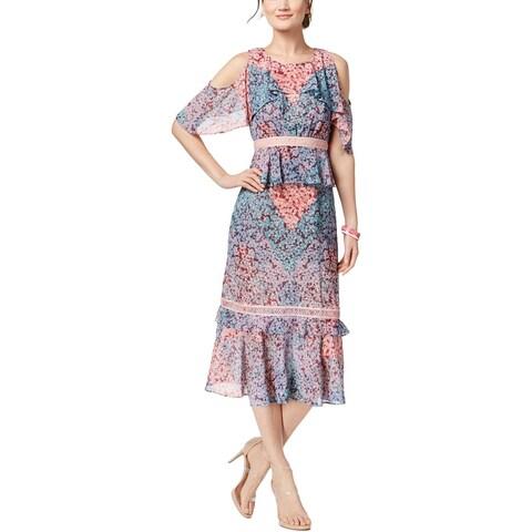 Jax Womens Midi Dress Cold Shoulder Floral Print