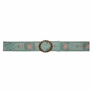Women's Tapestry Belt - Canvas Grosgrain Ribbon - Pewter Buckle