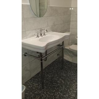 Imperial Vintage 36-inch Wall-mount Chrome Pedestal Bathroom Sink Vanity