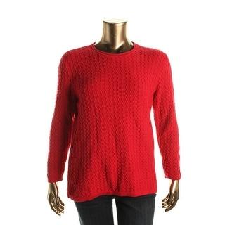 Karen Scott Womens Plus Textured Roll Neck Pullover Sweater