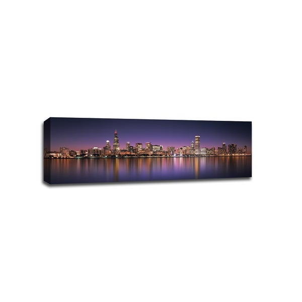 Chicago - Purple Sky - Cityscapes - 48x16 Gallery Wrapped Canvas Wall Art