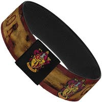 "Gryffindor Burnt Banner Patch Gold Burgundy Elastic Bracelet   1.0"" Wide"