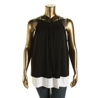Calvin Klein Womens Faux Leather Neckline Shelf Bra Halter Top - 1X