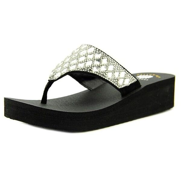 Yellow Box Pure Women Open Toe Leather Black Flip Flop Sandal