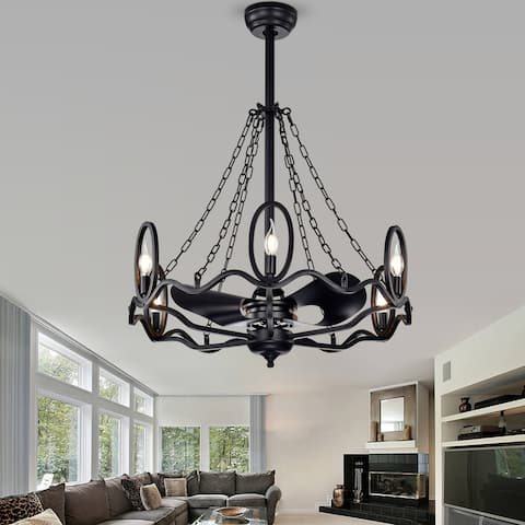 Forged Black 29-inch Indoor Ceiling Fan with Light Kit