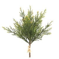 Club Pack of 12 Green and Brown Artificial Decorative Cedar Bushes 13""