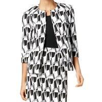 Kasper Black Women's Size 6 Open-Front Geo-Print Jacquard Blazer