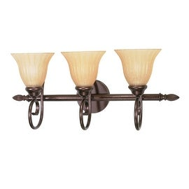 "Nuvo Lighting 60/017 Moulan 3 Light 25"" Wide Vanity Light with Champagne Washed Linen Glass Shades - copper bronze"