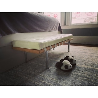 Strick & Bolton Andalucia Modern White Leather Bench (50 inches long)